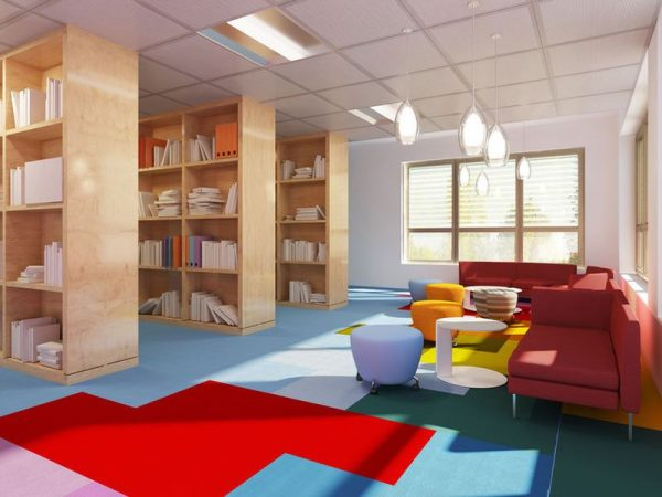 50514575 - colorful library in kitch styled school. red sofas, multicolored carpet. 3d render