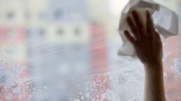 51008521 - young woman washing windows, motion blur