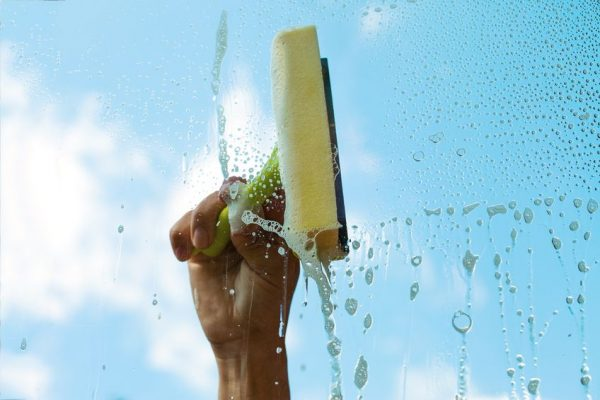 17022926 - human hand washing window in nice summer day