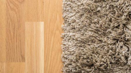 17992441 - fluffy carpet on laminate floor